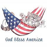 Custom Heat Transfer - God Bless America - Cat 10x12