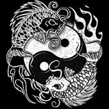 Custom Heat Transfer - Yin Yang Koi 10x10-cool, asian, yin yang, koi, heat transfer, iron-on, iron on, t-shirt, t shirt, tees