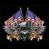 Custom Heat Transfer - Eagle, American Flags & Motorcycle 10x13