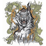 Custom Heat Transfer - WhiteTiger w/Dragons 9x9-cool, asian, tiger, dragon, heat transfer, iron-on, iron on, t-shirt, t shirt, tees