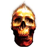 Custom Heat Transfer - Fire Skull 15x15