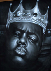 Custom Heat Transfer - Notorious BIG Crown 11 x 14-Notorious, BIG, Crown, biggie, smalls, b.i.g., decal, king, heat, transfer, shirt, hip-hop, urban, big and tall, roccawear, stacy adams, pelle pelle, sean john,  live, mechanics,las