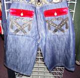 Crown Holder Denim Short-Hip Hop Urban Big and tall denim jean short