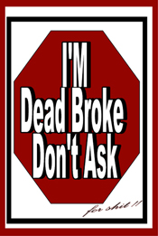 Custom Heat Transfer - Dead Broke (Red)