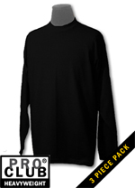 Pro Club Mens 3 pack HEAVYWEIGHT LONG SLEEVE-MENS HEAVYWEIGHT LONG SLEEVE TEE BLACK