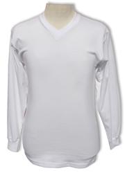 MEN'S COMFORT LONG SLEEVE T-SHIRTS V-NECK (SNOW WHITE)