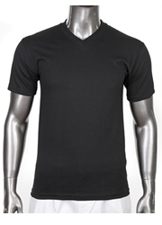 HEAVY WEIGHT STANDARD V-NECK T-SHIRT BLACK-HEAVY WEIGHT