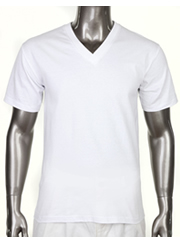 HEAVY WEIGHT STANDARD V-NECK T-SHIRT WHITE-HEAVY WEIGHT