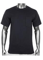 New PROCLUB men's blank Pocket T-shirt PRO CLUB Black