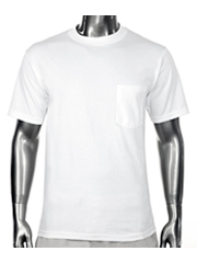 New PROCLUB men's blank Pocket T-shirt PRO CLUB White